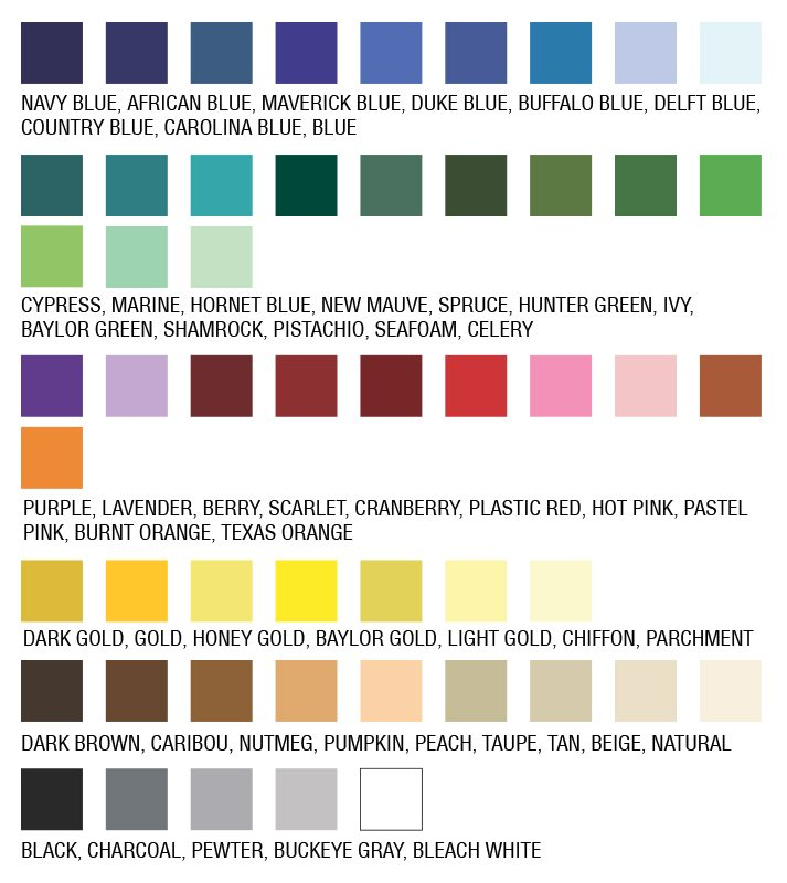 Throw color swatches