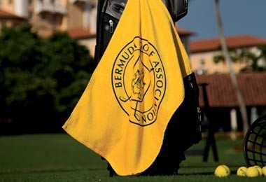 Yellow golf towel