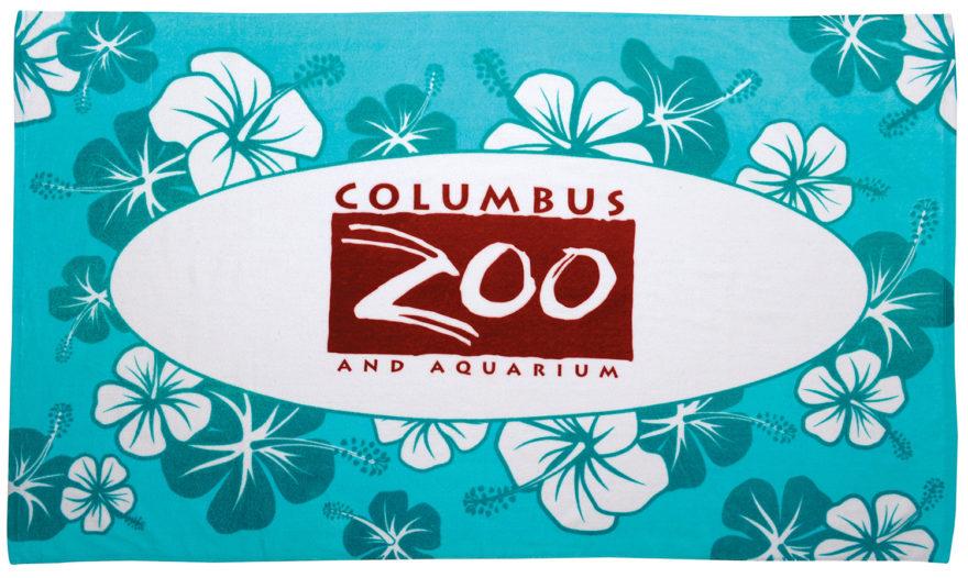 Turquoise Hibiscus Beach Towel