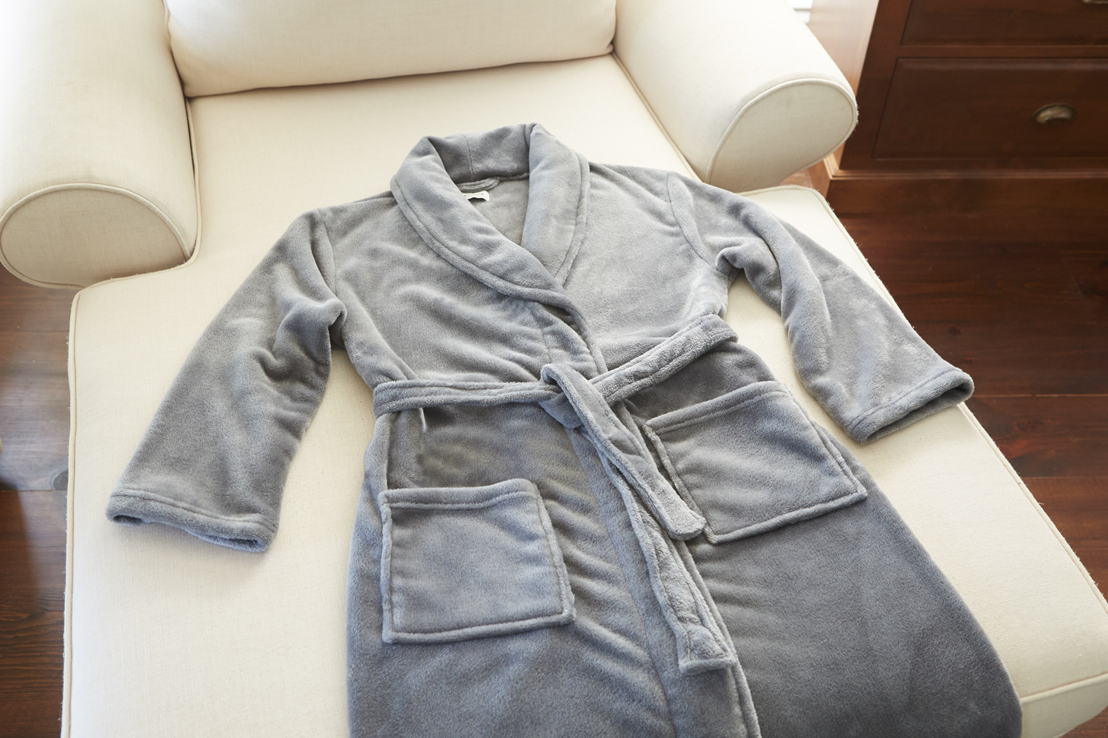 Plush Lounge Robe - Silver Gray Blank (1)