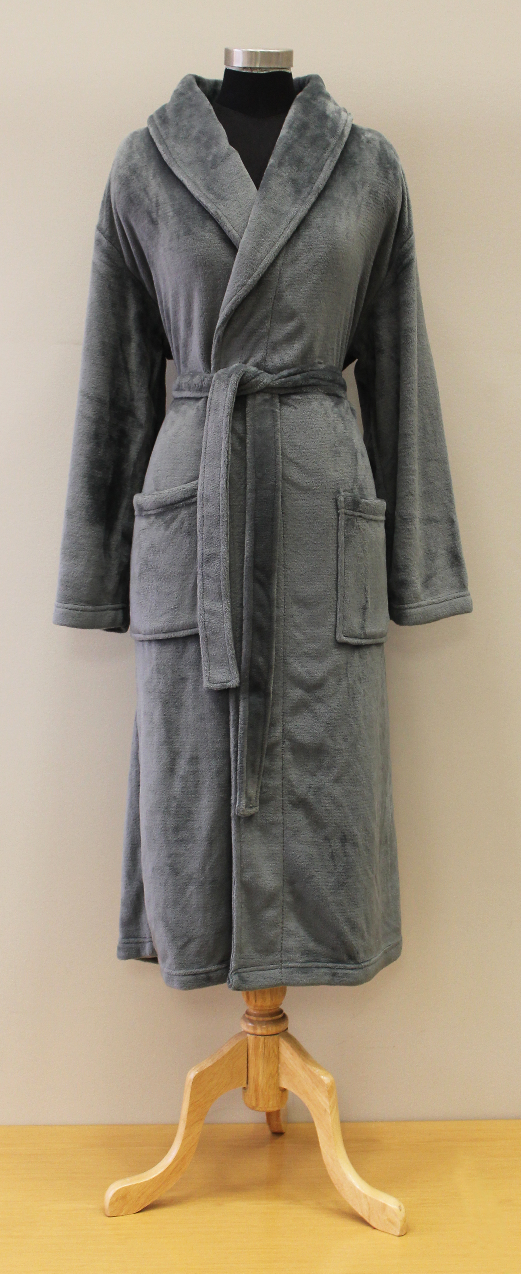 Plush Lounge Robe - Silver Gray
