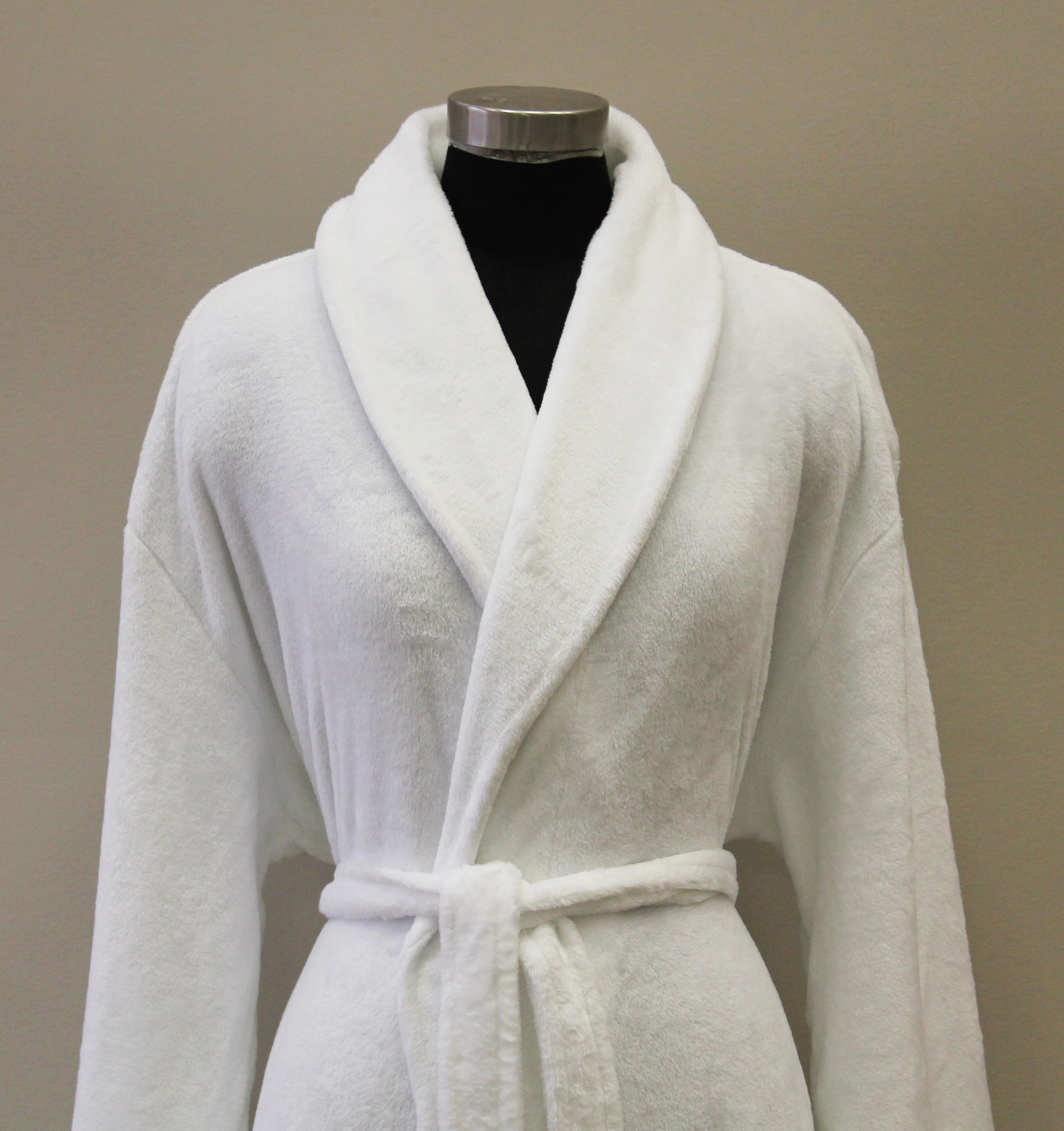 Plush Lounge Robe - White - Close View