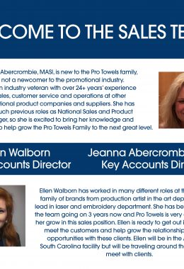Pro Towels Hires Jeanna Abercrombie and Promotes Ellen Walborn